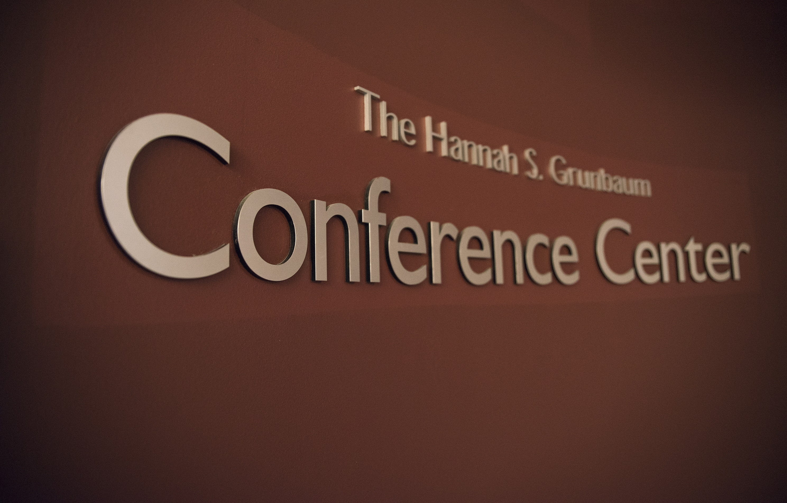 Picture of Hannah S. Grunbaum Conference Center sign.
