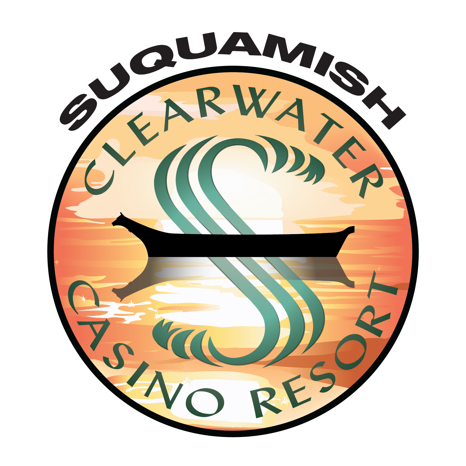 Suquamish Clearwater Casino Resort logo. A gold circle with the word Suquamish above. Inside the circle, along the top arc, it says Clearwater. The bottom arc says Casino Resort. In the middle of the circle is a simple image of a black canoe on water with a silhouette. Woven through the canoe is the letter S.