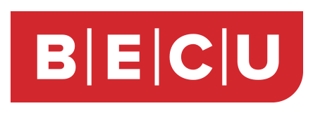 BECU logo. A red rectangle with a rounded corner in the bottom right. The name BECU is in white text inside the rectangle.