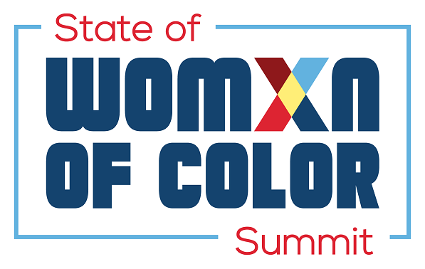 "Event logo. Colorful text says ""State of Womxn of Color Summit""."