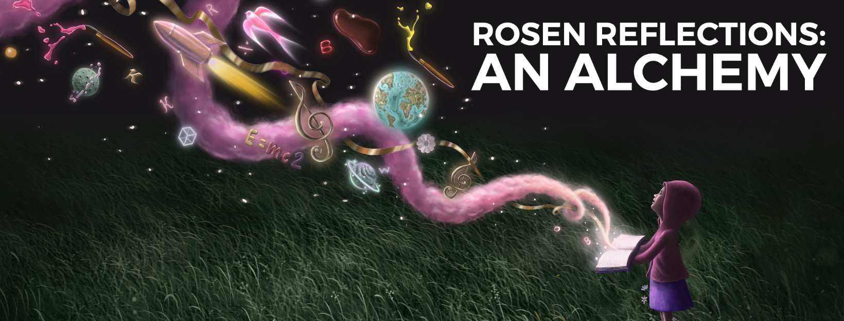 "Image linking to an article titled ""Rosen Reflections: An Alchemy"". Digital art of a dark grassy field, with a small child in the bottom right who wears a hoodie and skirt. The child holds an open book, out of which spirals a mystical line of smoke. Circling the smoke are various things, such as a globe, music notes, rocket, pen, the moon, a cube, and the formula E=mc^2."